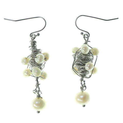 Wire Wrap Dangle-Earrings With Bead Accents Silver-Tone & White Colored #1493