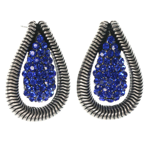 Silver-Tone & Blue Colored Metal Stud-Earrings With Crystal Accents #1496