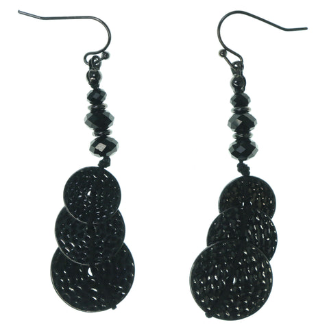 Silver-Tone & Black Colored Metal Dangle-Earrings With Bead Accents #1499