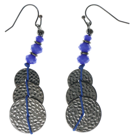 Blue & Silver-Tone Colored Metal Dangle-Earrings With Bead Accents #1500