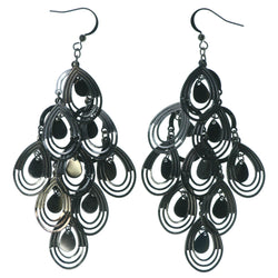 Silver-Tone Metal Chandelier-Earrings #1508