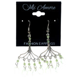 Silver-Tone & Green Colored Metal Dangle-Earrings With Bead Accents #1509