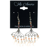 Silver-Tone & Peach Colored Metal Dangle-Earrings With Bead Accents #1511