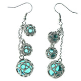 Silver-Tone & Green Colored Metal Dangle-Earrings With Bead Accents #1516