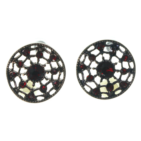 Bronze-Tone & Red Colored Metal Stud-Earrings With Crystal Accents #1522