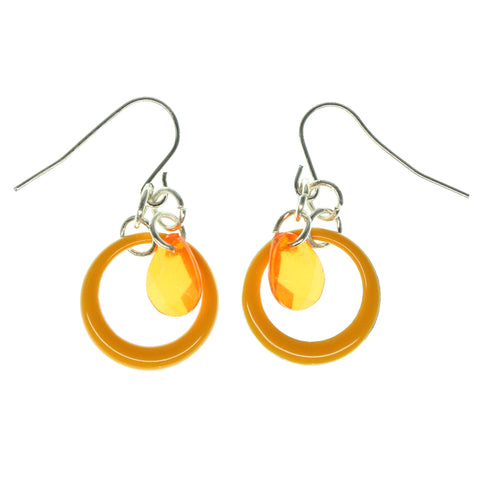Orange Metal Dangle-Earrings With Faceted Accents #1533