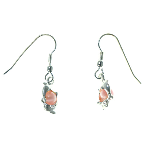 Dolphins Dangle-Earrings With Bead Accents Silver-Tone & Pink Colored #1543