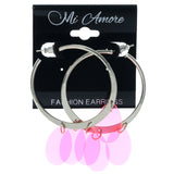 Silver-Tone & Pink Colored Metal Hoop-Earrings #1546