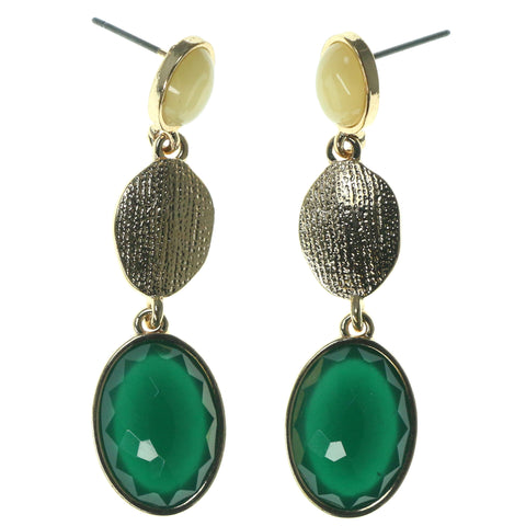 Gold-Tone & Green Colored Metal Dangle-Earrings With Faceted Accents #1553