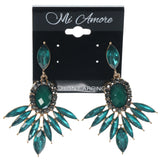 Green & Gold-Tone Colored Metal Dangle-Earrings With Crystal Accents #1556