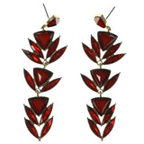 Gold-Tone & Red Colored Metal Dangle-Earrings With Crystal Accents #1558