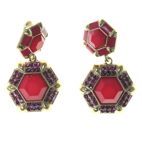 Pink & Gold-Tone Colored Metal Clip-On-Earrings With Crystal Accents #1565