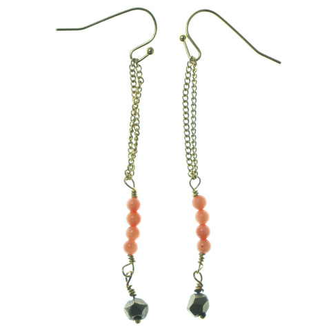 Gold-Tone & Peach Colored Metal Dangle-Earrings With Bead Accents #1571