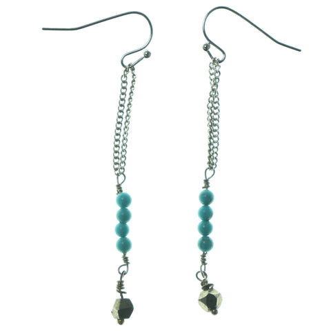 Silver-Tone & Blue Colored Metal Dangle-Earrings With Bead Accents #1573