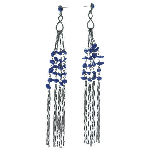 Blue & Silver-Tone Colored Metal Dangle-Earrings With Stone Accents #1575