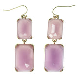 Pink & Gold-Tone Colored Metal Dangle-Earrings With Faceted Accents #1576