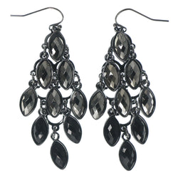 Silver-Tone & Black Colored Metal Chandelier-Earrings With Faceted Accents #1582