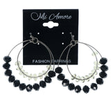 Black & Silver-Tone Colored Metal Dangle-Earrings With Bead Accents #1587