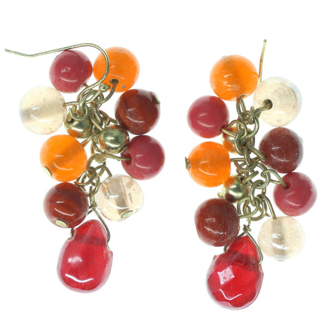 Red & Orange Colored Metal Dangle-Earrings With Bead Accents #1589