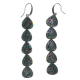 Silver-Tone & Multi Colored Metal Dangle-Earrings With Crystal Accents #1594