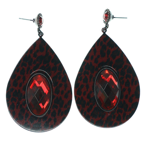 Cheetah Dangle-Earrings With Crystal Accents Red & Black Colored #1597