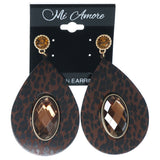 Cheetah Dangle-Earrings With Crystal Accents Brown & Black Colored #1598