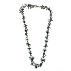 Adjustable Length Fashion-Necklace With Faceted Accents  Dark Silver Color #2494