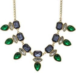 Adjustable Length Statement-Necklace With Crystal Accents Colorful & Gold-Tone Colored #2511