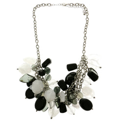 Adjustable Length Layered-Necklace With Stone Accents Colorful & Silver-Tone Colored #2526