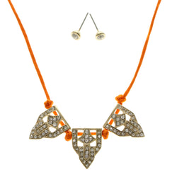 Adjustable Length Matching Earrings Collar-Necklace Jewelry Set With Crystal Accents Orange & Gold-Tone Colored #2679