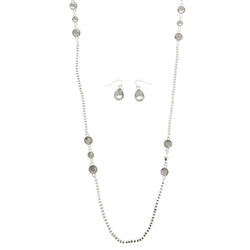 Silver-Tone Metal Long-Necklace Jewelry Set With Crystal Accents #2683