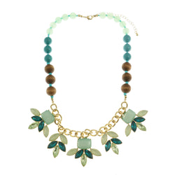 Adjustable Length Statement-Necklace With Faceted Accents Colorful & Gold-Tone Colored #2465
