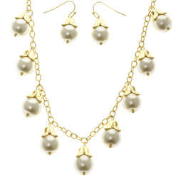 Adjustable Length Matching Earrings Statement-Necklace Jewelry Set With Bead Accents Gold-Tone & White Colored #2689