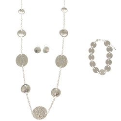 Adjustable Length Statement-Necklace Jewelry Set Silver-Tone Color  #2694