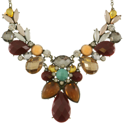 Adjustable Length Statement-Necklace With Faceted Accents Colorful & Gold-Tone Colored #2468