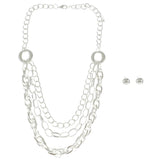 Adjustable Length Necklace-Earring-Set Silver-Tone Color  #2471