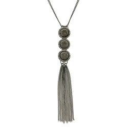 Tassels Adjustable Length Long-Necklace  With Crystal Accents Dark Silver Color #2472
