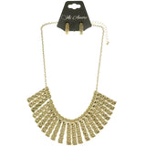 Adjustable Length Necklace-Earring-Set Gold-Tone Color  #2474