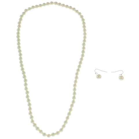 White Acrylic Necklace-Earring-Set With Bead Accents #2475