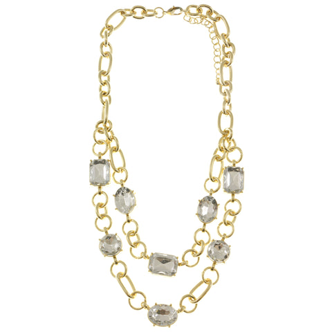 Adjustable Length Layered-Necklace With Faceted Accents  Gold-Tone Color #2477