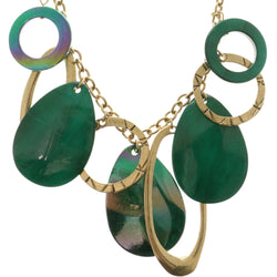 Adjustable Length Statement-Necklace With Stone Accents Green & Gold-Tone Colored #2704