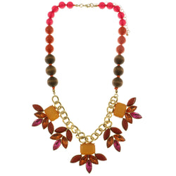 Adjustable Length Statement-Necklace With Faceted Accents Colorful & Gold-Tone Colored #2479