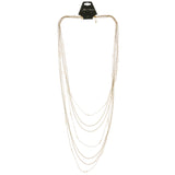Adjustable Length Layered-Necklace With Bead Accents Gold-Tone & Pink Colored #2705