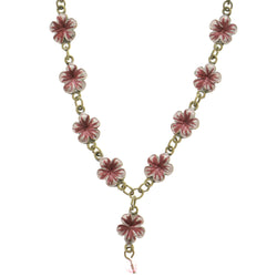 Flowers Adjustable Length Statement-Necklace With Bead Accents Pink & Gold-Tone Colored #2709