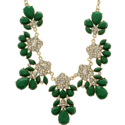 Adjustable Length Statement-Necklace With Crystal Accents Green & Gold-Tone Colored #2712