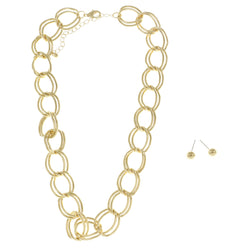 Adjustable Length Necklace-Earring-Set Gold-Tone Color  #2714 - Mi Amore