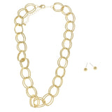 Adjustable Length Necklace-Earring-Set Gold-Tone Color  #2714