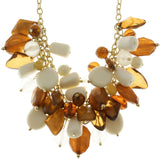 Adjustable Length Statement-Necklace With Bead Accents Orange & Gold-Tone Colored #2496