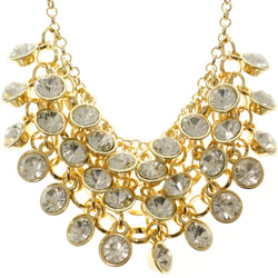 Adjustable Length Statement-Necklace With Crystal Accents  Gold-Tone Color #2500