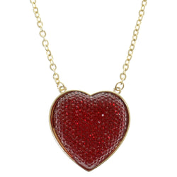 Heart Adjustable Length Pendant-Necklace With Crystal Accents Red & Gold-Tone Colored #2502